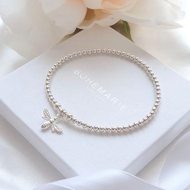 Sterling silver mya mini bee charm brace