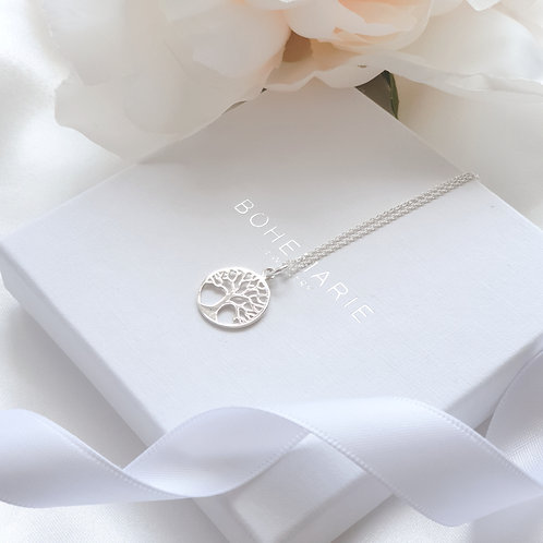 Sterling silver tree of life layering necklace