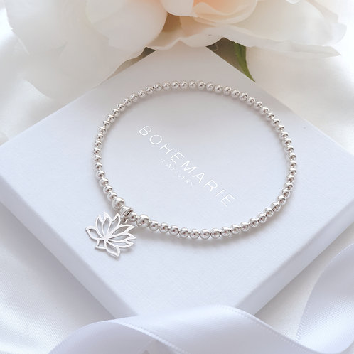 Sterling silver lotus flower charm beaded stacking bracelet