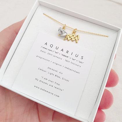 Gold Plated Aquarius Necklace