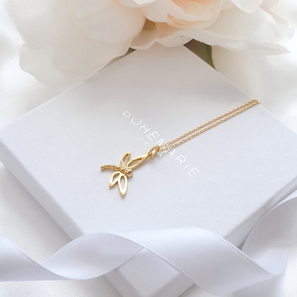 Gold plated dragonfly layering necklace
