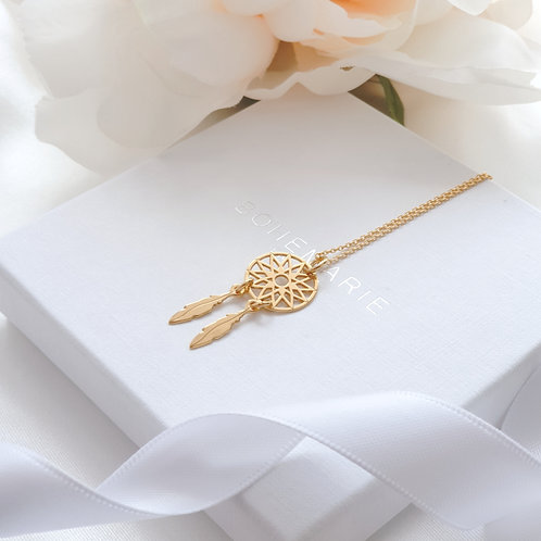 Gold plated dreamcatcher layering necklace