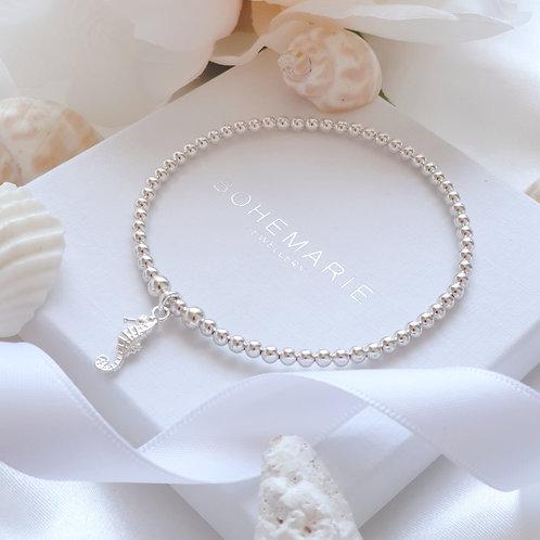 Sterling silver beaded seahorse charm bracelet