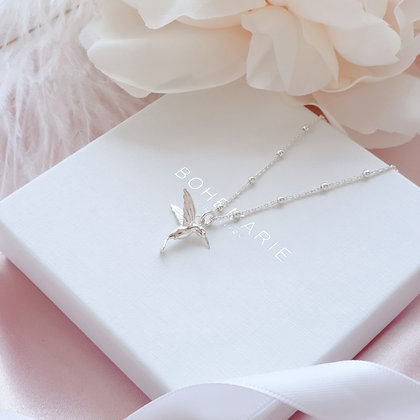 Sterling Silver beaded chain hummingbird necklace