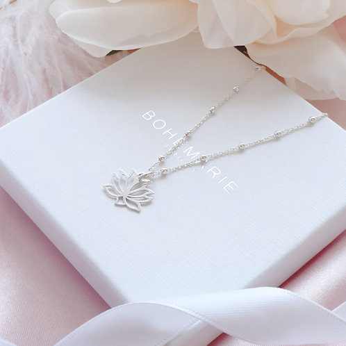 Sterling Silver lotus flower necklace for women