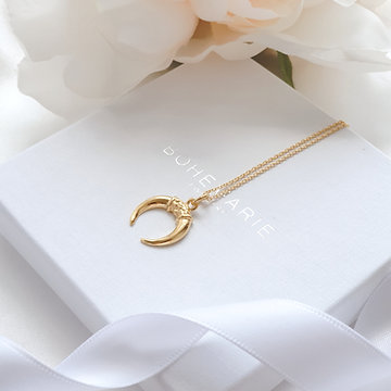 Gold Plated Crescent Horn Necklace