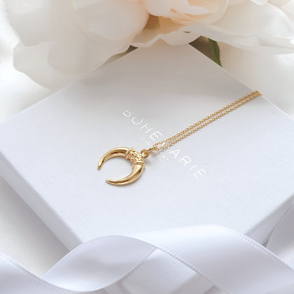 Gold plated crescent moon horn layering necklace