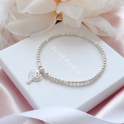 Sterling Silver beaded heart charm bracelet