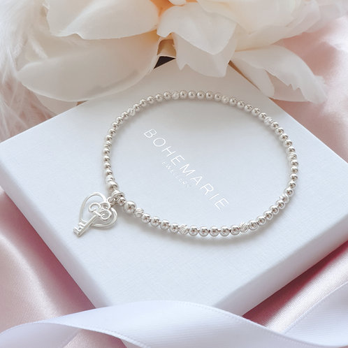 Sterling Silver beaded heart charm bracelet
