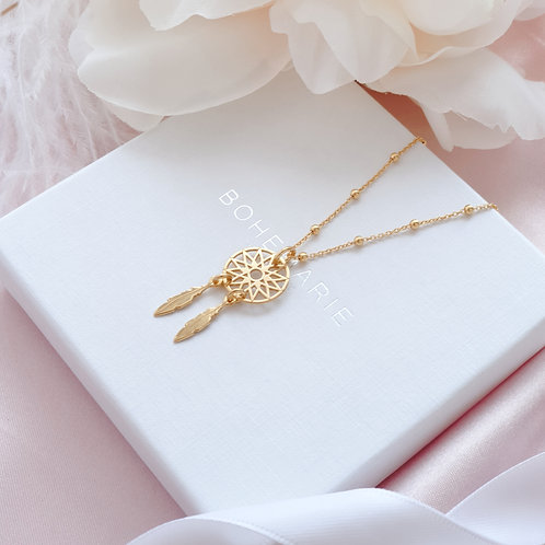 Gold plated dreamcatcher charm layering necklace