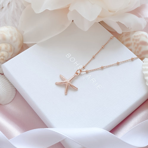 Rose Gold plated starfish charm layering necklace