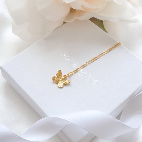 Gold plated butterfly layering necklace