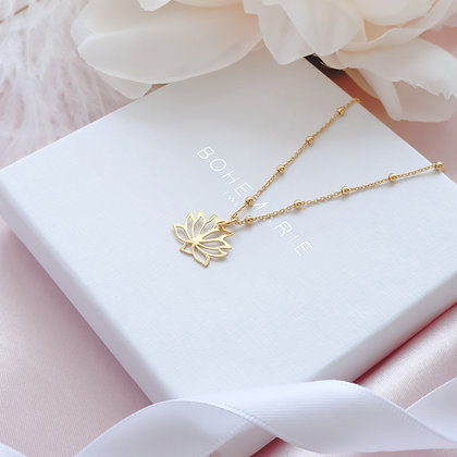 Gold plated lotus flower charm layering necklace