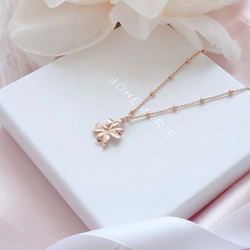 Rose gold plated clover charm layering necklace