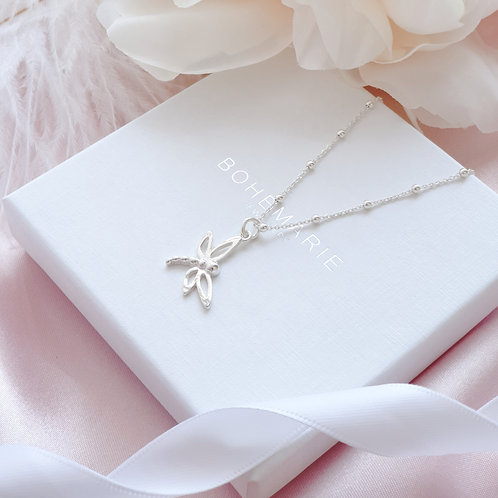 Sterling Silver minimal dragonfly necklace