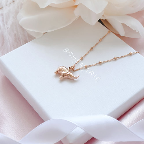Rose gold plated elephant charm layering necklace