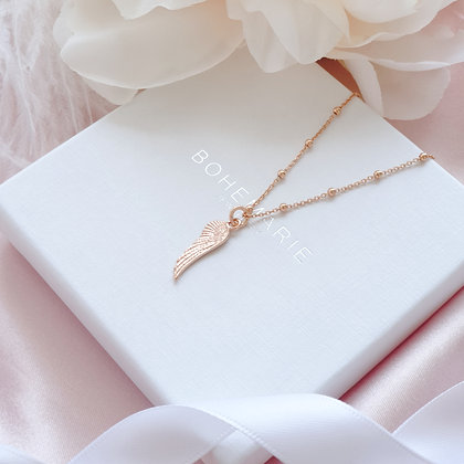 Rose gold plated angel wing charm layering necklace