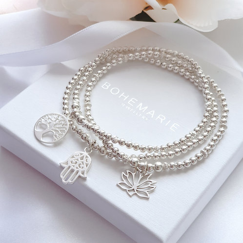 sterling silver beaded lotus flower charm stacking bracelet sets