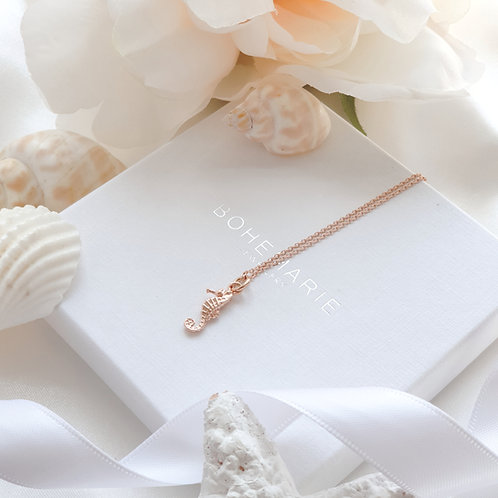 Rose Gold plated seahorse layering necklace