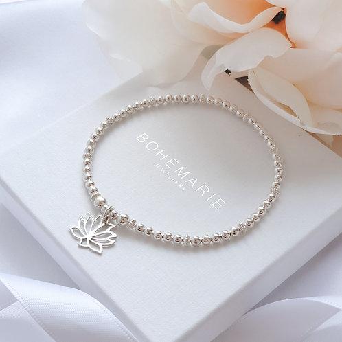 Sterling silver beaded lotus flower charm bracelet