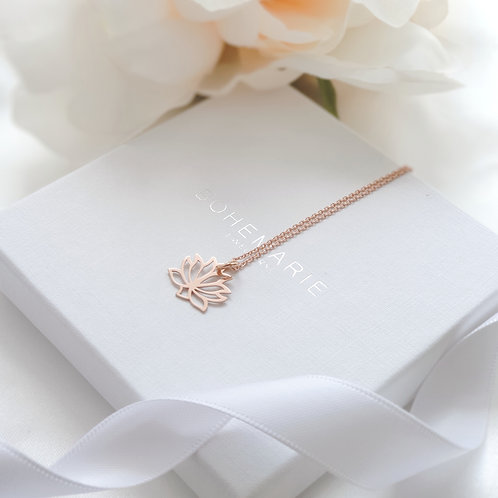 Rose gold plated lotus flower layering necklace