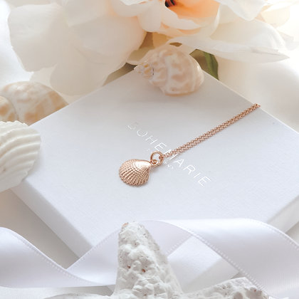 rose gold plated shell necklace for women