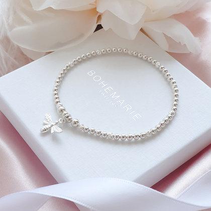 Sterling Silver beaded bee charm bracelet