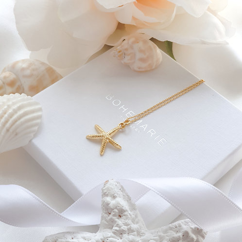 Gold plated starfish layering necklace