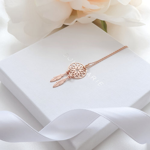 Rose gold plated dreamcatcher layering necklace