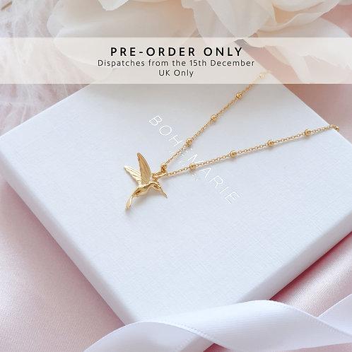 Gold Plated Bohemian Hummingbird Necklace