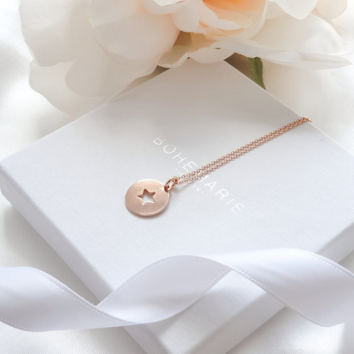 Rose gold plated star layering necklace