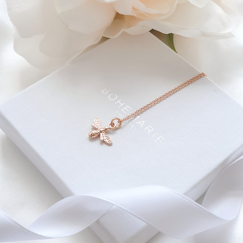 Rose gold plated bee layering necklace