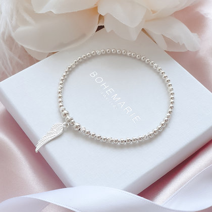 Sterling Silver beaded Angel wing charm bracelet