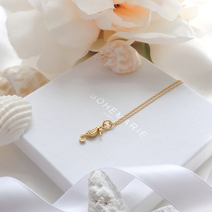 Gold plated seahorse necklace for women