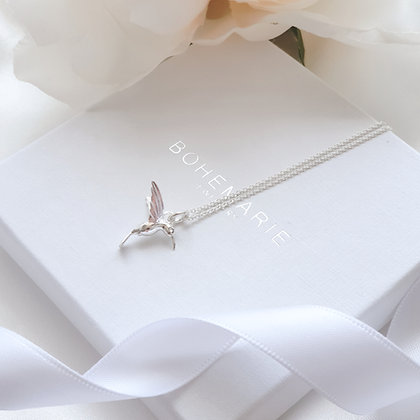 Sterling silver hummingbird layering necklace