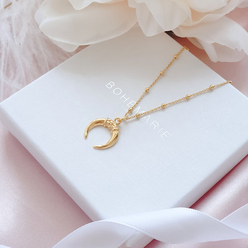 Gold plated crescent moon horn charm layering necklace
