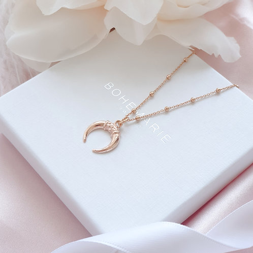 Rose gold plated crescent moon horn charm layering necklace