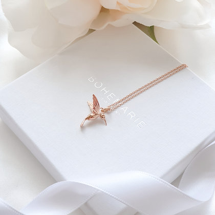 Rose gold plated hummingbird layering necklace
