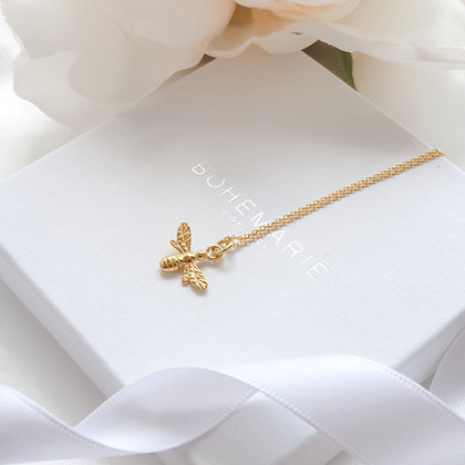 Gold plated bee layering necklace