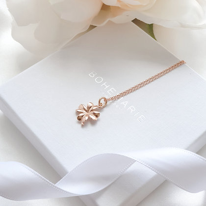 Rose gold plated clover layering necklace