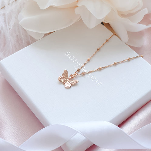 Rose gold plated butterfly charm layering necklace