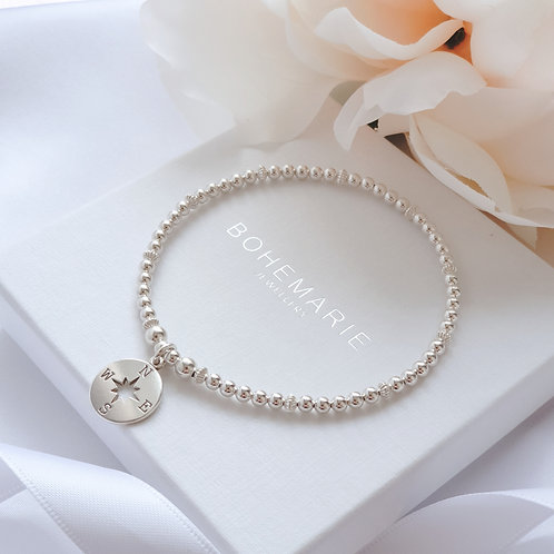Sterling silver beaded compass charm bracelet