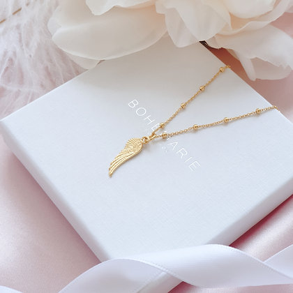 Gold plated angel wing charm layering necklace