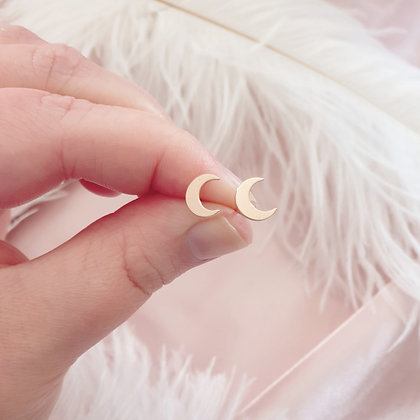 Rose Gold Plated Moon Earrings