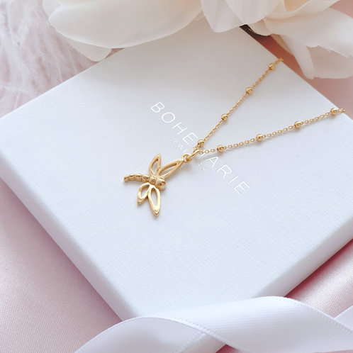 Gold plated dragonfly charm layering necklace
