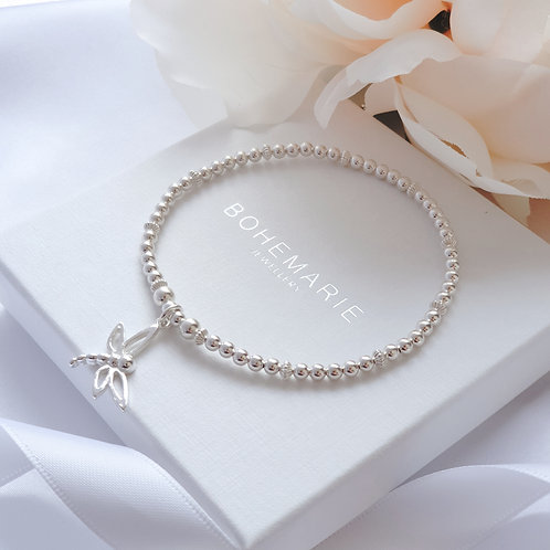 Sterling silver beaded dragonfly charm bracelet