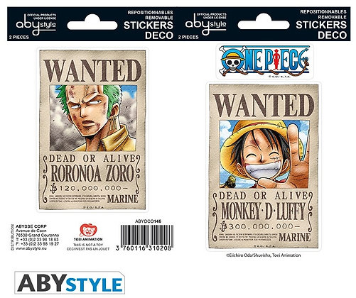 ONE PIECE - Stickers - 16x11cm/ 2 planches - Wanted Luffy/ Zoro