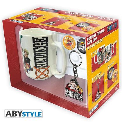 """ONE PIECE - Pack Mug + Porte-clés + Badges """"New World"""""""
