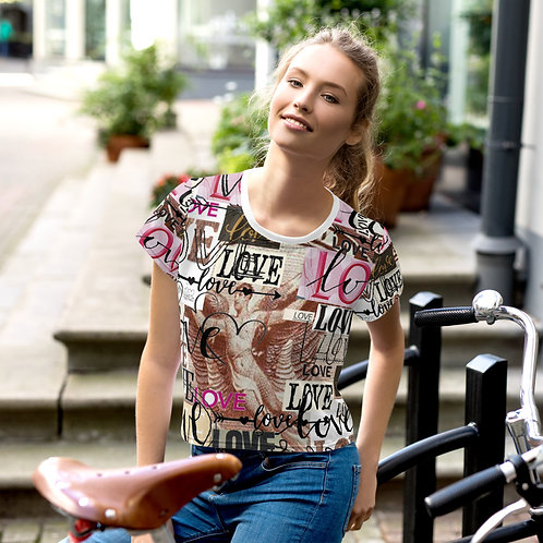 'Love' All-Over Print Crop Tee