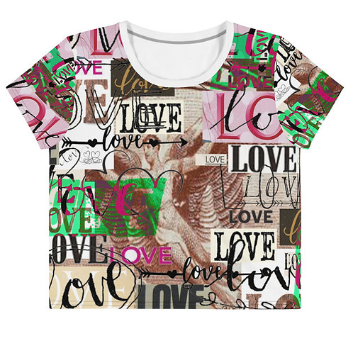Neon Green 'Love' All-Over Print Crop Tee